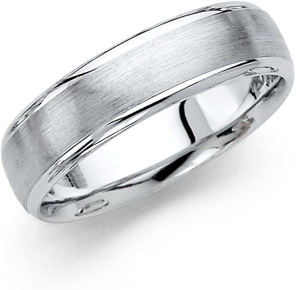 Wellingsale 14k White Gold Polished Satin 6MM Rounded Edge Comfort Fit Wedding Band Ring