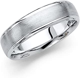 GemApex Solid 14k White Gold Band Plain Wedding Ring Dome Style Satin Finish Classic Comfort Fit Mens 6 mm