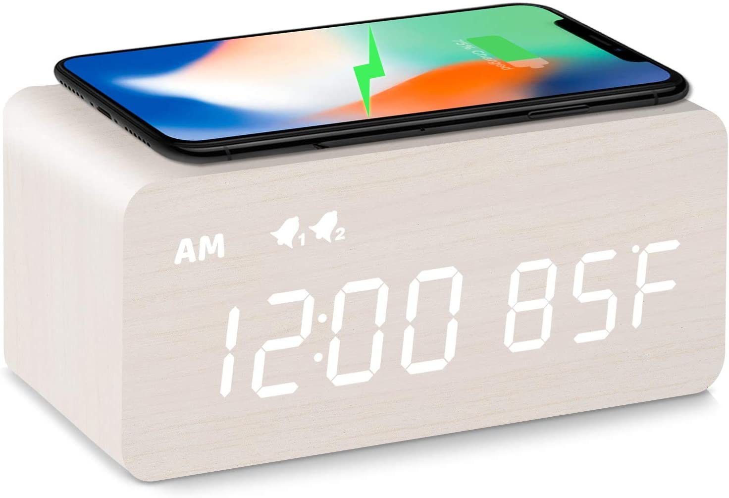 MOSITO Digital Wooden Alarm Clock with Wireless Charging, 0-100% Dimmer, Dual Alarm, Weekday /Weekend Mode, Snooze, Wood LED Clocks for Bedroom, Bedside, Desk, Kids (White)