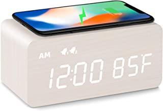 ساعت زنگ دار چوبی دیجیتال MOSITO با شارژ بی سیم ، کم نور 0-100٪ ، زنگ هشدار دوگانه ، حالت روزهای هفته / آخر هفته ، تعویق ، ساعت های LED چوبی برای اتاق خواب ، کنار تختخواب ، میز کار ، کودکان (سفید)