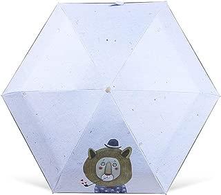 XIAO Umbrella 6 Skeleton, Mini Sun Umbrella, Female Umbrella Sun Protection UV, Black Plastic Cute Compact Folding Portable Dual-use Umbrella, Black Plastic Sun Umbrella, Light Umbrella, Light Blue, T