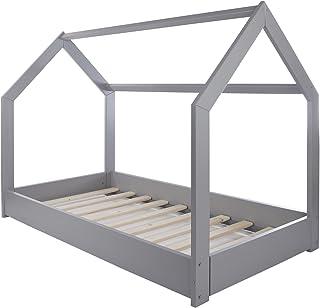 Velinda Lit Maison 2 en 1, Chambre d'enfant, Construction cabane, Bois Naturel 160x80 cm (Couleur: Gris)