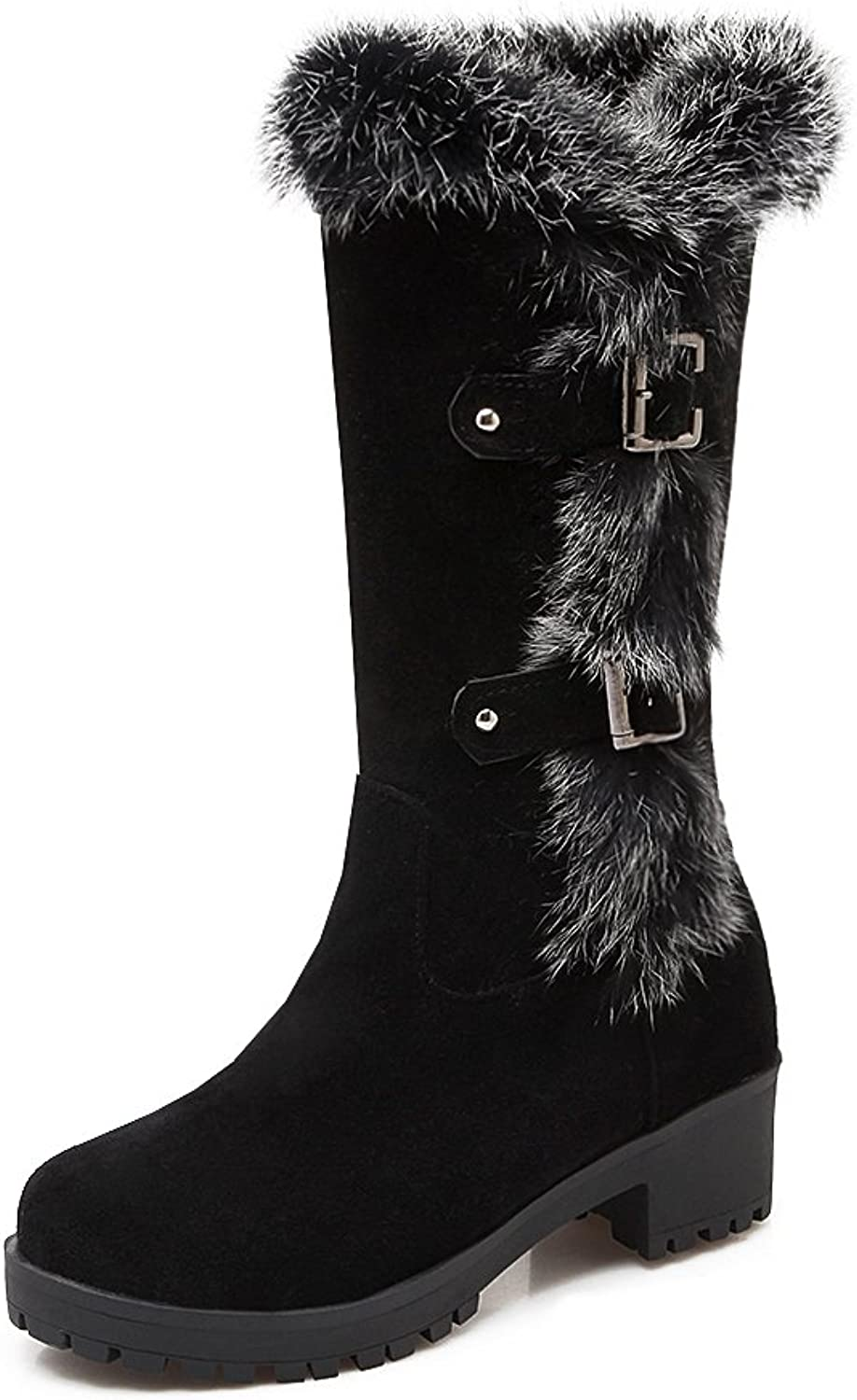AIWEIYi Womens Thermal Knee High Slip-resistant Rabbit fur Winter Snow Boots Black
