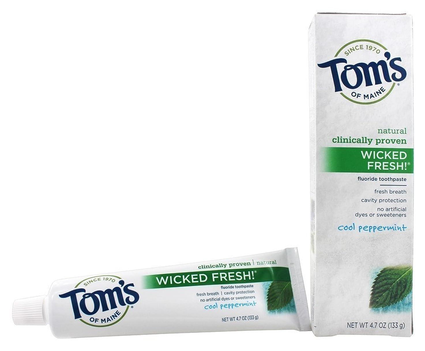 多分追い出す接続詞Tom's of Maine ナチュラル邪悪な新鮮なフッ化物の歯磨き粉クールペパーミント4.70オズ