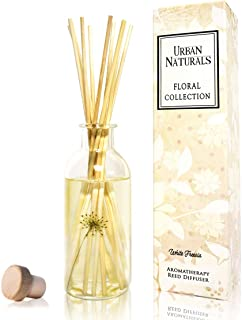 Urban Naturals White Freesia Reed Diffuser Scent Sticks Set. Freesia, Hyacinth and White Musk. Scented Infuser Aromatherapy Oil With Real Flowers in Bottle