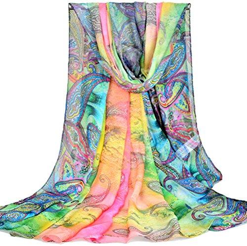 PB-SOAR XXL Damen Paisley Sarong Pareo Strandtuch Wickelrock Wickeltuch Schal Halstuch, weich und leicht (Farbe 1)