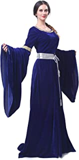 Womens Medieval Maxi Dress Renaissance Princess Girls Long Flared Sleeve Costume Irish Gothic Vintage Victorian Retro Gown