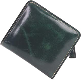 Mini Men Wallet Wax Oil Full Grain Cow Leather RFID Wallet with Front Pocket (Color : Green, Size : S)