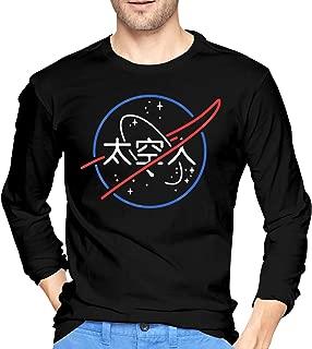 Mens Vintage NASA Aesthetic Japanese Neon Logo Long Sleeve T Shirt Black