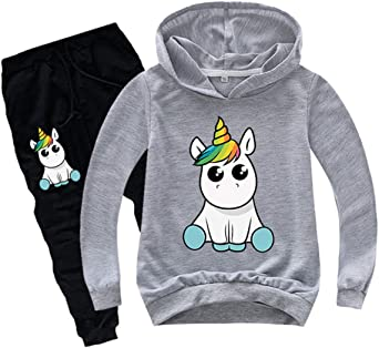 Silver Basic Conjunto de Sudadera con Capucha Cute Unicorn Sportswear para Ni/ñas Sudadera con Capucha y Pantal/ón Ch/ándal