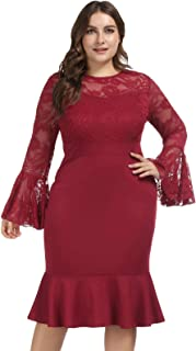 Best dark red lace midi dress Reviews