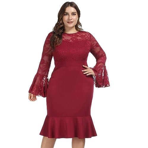 6aa326fccb408 Lace Bell Sleeve Dresses: Amazon.com