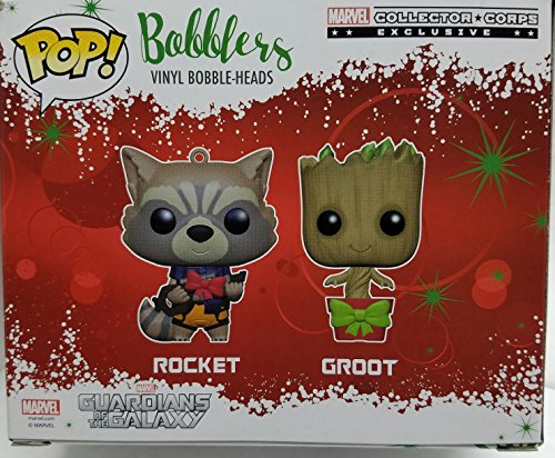 Groot and Rocket Pop Bobblers Hanging Christmas Ornaments Marvel Collectors Corps Exclusives