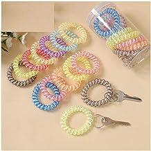 Sleutelarmband, telefoonlijn sleutelhanger, labelkaart, kleur transparant hoogelastische rubberen band gesp-Lichtblauw