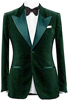 efcd710391b48 Men's Notch Lapel One Button Velvet Blazer Prom Party Jacket Wedding Dinner  Tuxedos