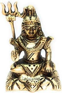 Brass Lord Shiv /Lord Shiva in Blessing Posture on Tiger Decorated | Shiv Murti Idol | Statue by Duke Art Emporium