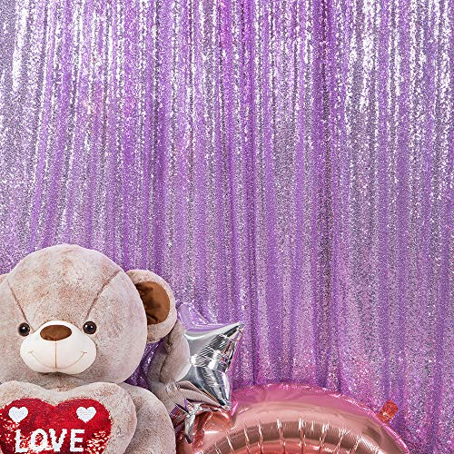 JYFLZQ Lavender Sequin Backdrop Curtain 6FTx8FT 1Panel Sparkly Photography Background Drapes Glitter Photo Booth Backdrops for Birthday Wedding Party