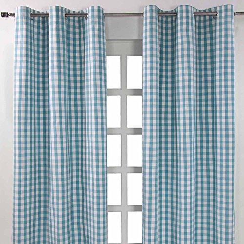 Homescapes Ösenvorhang Blickdicht Karo blau weiß Dekoschal 2er Set Breite 137 x Länge 182 cm Vorhang Paar 100% Baumwolle