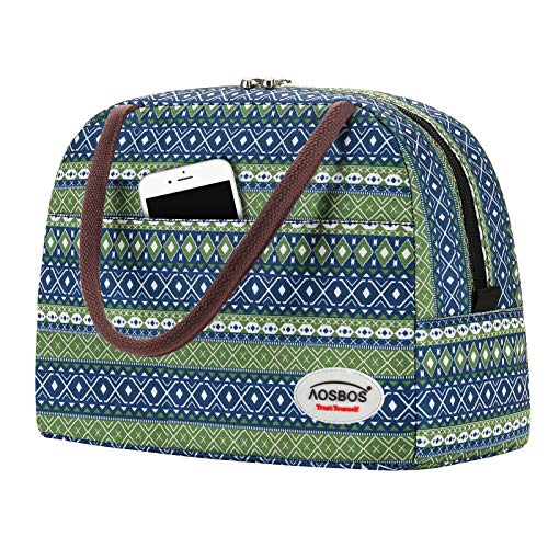 Aosbos Sac Repas Isotherme Femme Lunch Bag Portable Sac De Déjeuner Glacière Souple Isotherme Pour Bureau Pique-nique École Femme Enfant, Style Bohémien, Vert