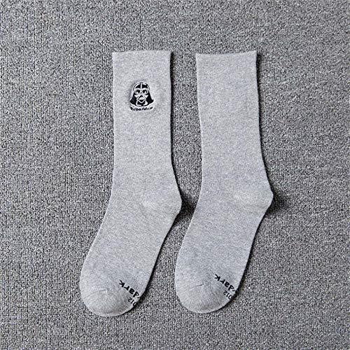 RTESBGH Neuheit Socken,Graue Unterseite Star Wars Muster Ovelty Bequeme Weiche Socken Farbe Socken Lang Skateboard Hip Hop Socke Star Wars Stickerei Unisex Harajuku (3 Ps)
