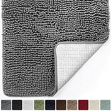 Gorilla Grip Original Luxury Chenille Bathroom Rug Mat (44 x 26), Extra Soft and Absorbent Large Shaggy Rugs, Machine Wash/Dry, Perfect Plush Carpet Mats for Tub, Shower, and Bath Room (Gray)