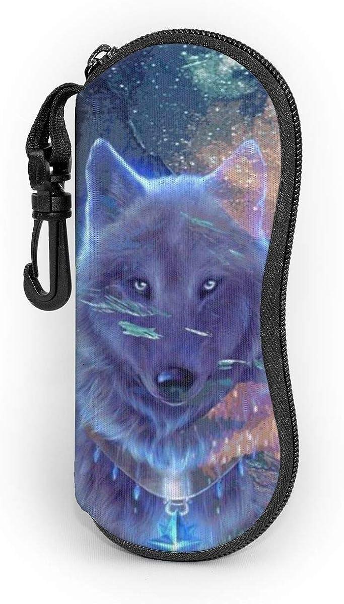 CHILL·TEK Wolf In The Milky Way Eyeglasses Case With Carabiner - Lightweight | Portable | Soft | Neoprene Zipper Sunglasses Case