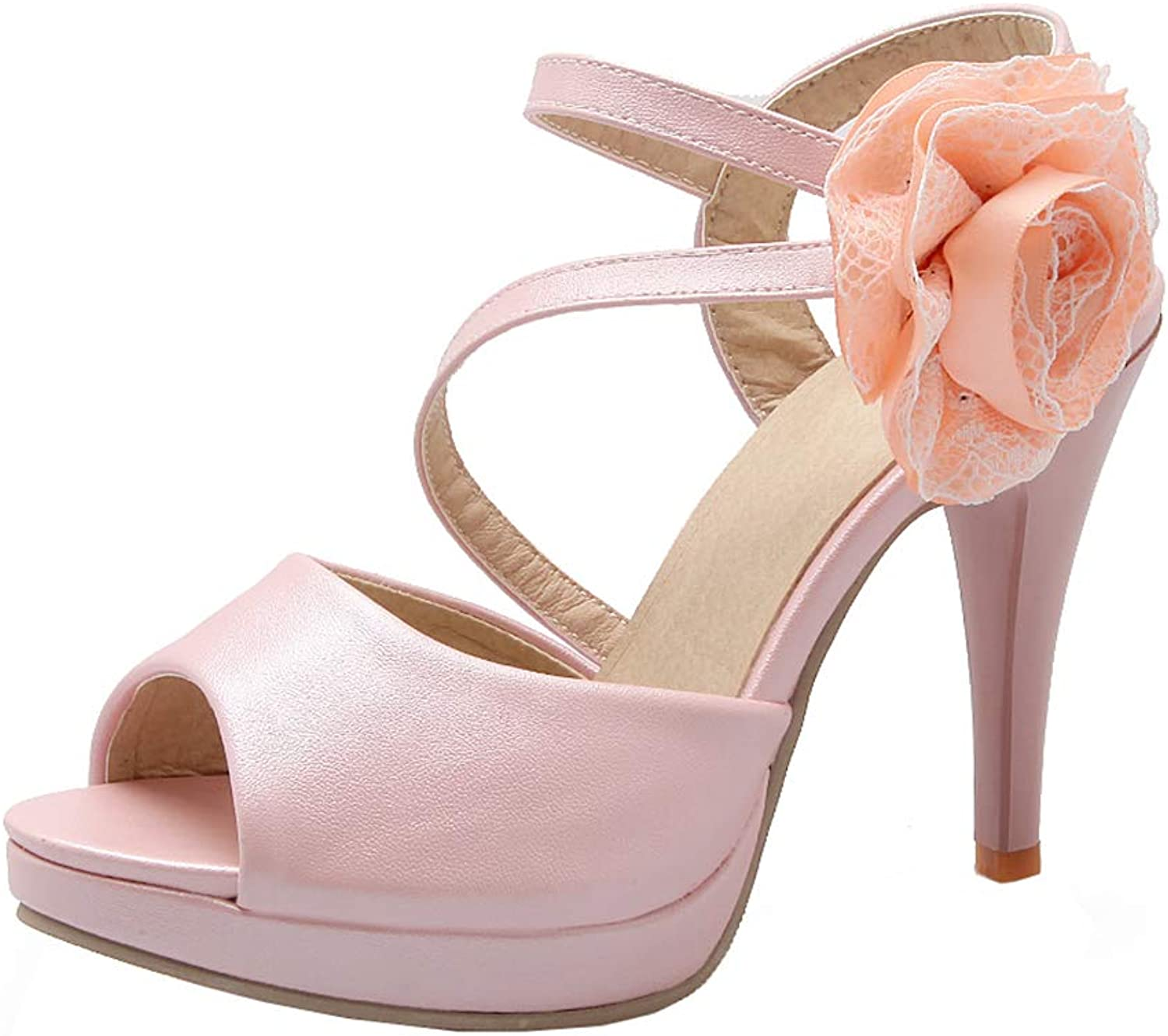XDLEX Women's Lolita Flower Heeled Sandals Credver Strap Platform Pumps Ankle Wrap-Around Strap Floral Lacework Mary Janes Cut Out Peep Toe Chunky Heel