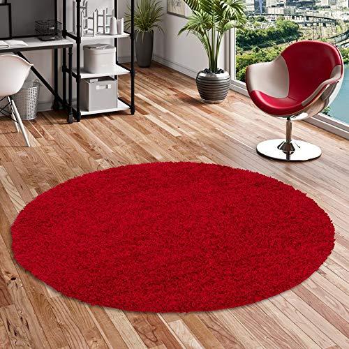 ALOHA Hochflor Langflor Shaggy Teppich Rot Rund - Sofort Lieferbar in 4 Größen