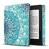 TNP Funda Protectora para Amazon Kindle Paperwhite 10a Generación 2018/2019/2020, Carcasa Inteligente Delgada y Ligera de Cuero con Función de Auto-Sueño para E-Reader (Emerald Illusions)