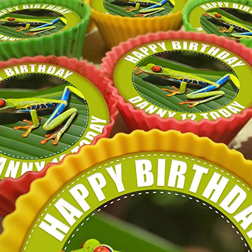 Tree Frog Cupcake Toppers, 20 x 5cm, Personalised Edible on Icing Sheet with HI-RES Image