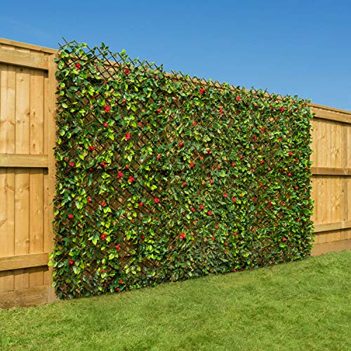 CHRISTOW Artificial Hedge Flower Garden Screening Expanding Trellis Privacy Screen 2 x 1m