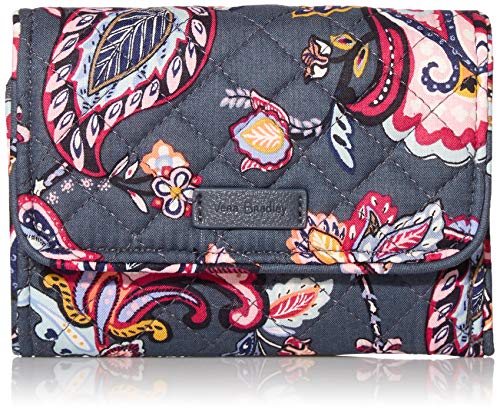 Vera Bradley Signature Cotton Riley Compact Wallet with RFID Protection, Felicity Paisley
