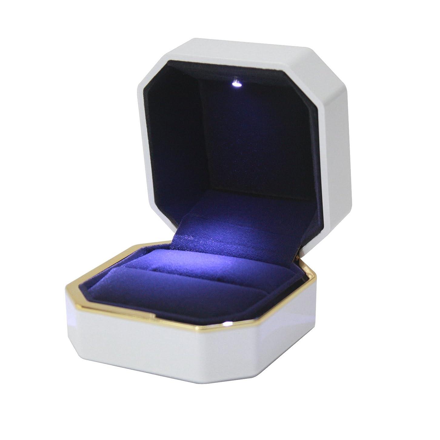 ワットメタン起点panaco リングケース 指輪を照らすLEDライト付 サプライズ プレゼント 大切な指輪の保管に 指輪ケース ジュエリーケース (ホワイト)