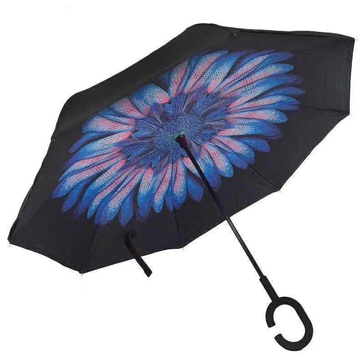 プレフィックス衝突おじいちゃんYSYYSH 傘逆傘ハンズフリーロングハンドル傘C字型ハンドルは保持しやすく、速くて乾燥したランダム花柄124CM×80CMに快適です クラシック傘