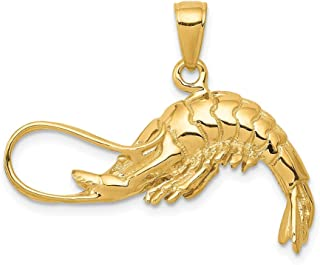 14k Yellow Gold 3 Dimensional Shrimp Pendant Charm Necklace Sea Life Man Fine Jewelry Gift For Dad Mens For Him