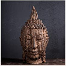 Head Sculpture Statue Shakyamuni Faux Wood Figurine Statue Buddha Head Resin Crafts Home Decoration