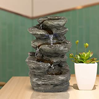 """BBabe Staggered Rock Cascading Fountain 11"""", 5-Tiered Feng Shui Rocky Water Falls Tabletop Water Fountain with LED Lights for Home Office Decor"""