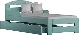 Children's Beds Home Lit Simple en Bois Massif - Kiko avec Tiroirs et Mousse - Matelas en Fibre de Coco (180x90 + Tiroirs...