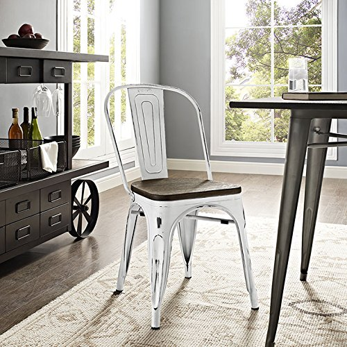 Modway Promenade Stackable Modern Aluminum Bistro Dining Side Chair With Bamboo Seat, One, White
