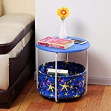 Sofa Side Table End Tables Carbon Steel 3 Tier Small Round Couch Table with Storage Basket, Simple Metal Living Room Bedro...
