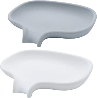 lofekea Silicone Soap Dish 2 Pack Soap Holder Dish with Drain for Shower and Bathroom Self Draining Waterfall Soap Tray (G...
