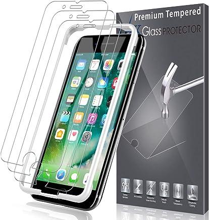 LK [3 Pack Pellicola Protettiva per iPhone 7 / iPhone 8, [Installazione Semplice Cornice allineamento] Protezione Schermo Vetro Temperato Screen Protector [Garanzia di Sostituzione a Vita]
