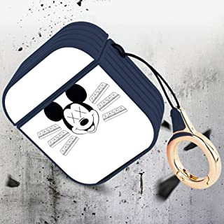 DISNEY COLLECTION AirPods Case with Keychain Drugs Lil Pump Xan Mickey Mouse Pills Xanax Design Magnetic Closure Non-Slip Shockproof Protective Premium Silicone Skin for Airpod 1 AirPod 2 Cover
