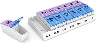 Ezy Dose Weekly AM/PM Travel Pill Organizer and Planner │ Removable AM/PM Compartments │ Great for Travel (Small)