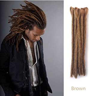 AOSOME 12pcs Dreadlock Braids 100% Handmade Brown Synthetic Hair Extension, 30cm/12in
