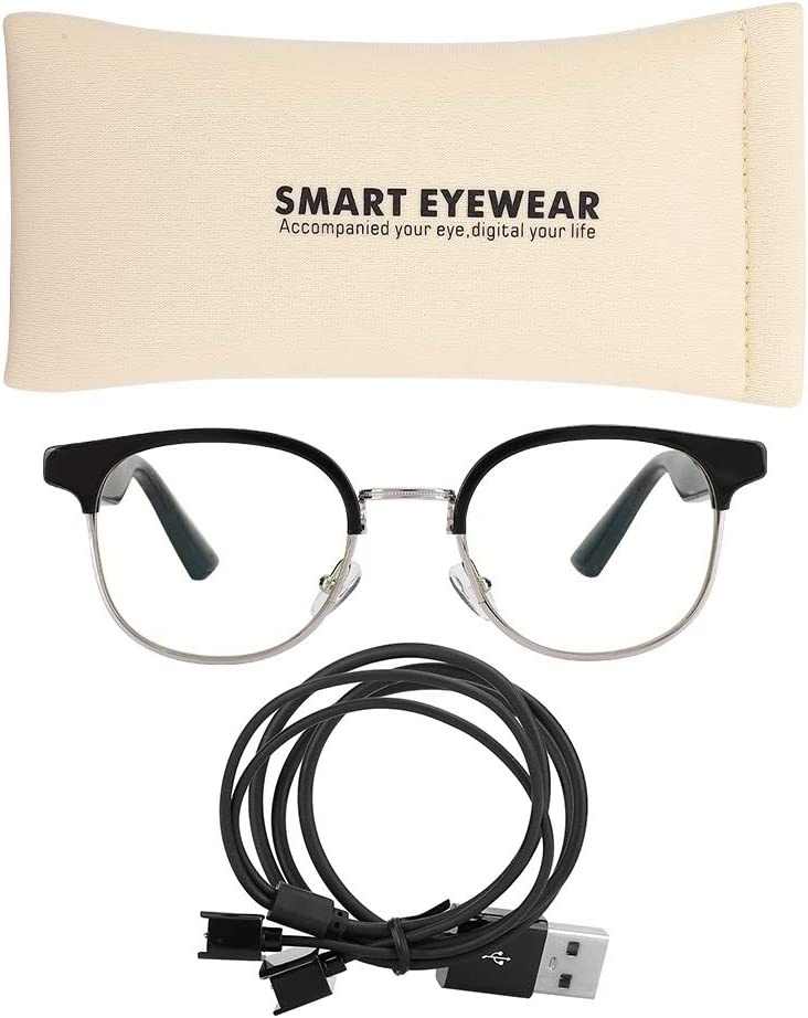 Lightweight Anti-Blue Smart Bluetooth Glasses, Stereo Call Glasses, Noise Reduction Built-in Mic with Storage Bag