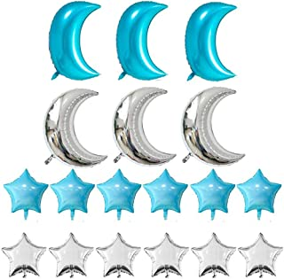 KEYYOOMY Crescent Moon Shaped Mylar Balloons 36 inch Moon and Star Party Balloons Pack of 18 for Birthday Party Anniversary Celebrate Parties Wedding Baby Shower(Turquoise Blue and Silver)