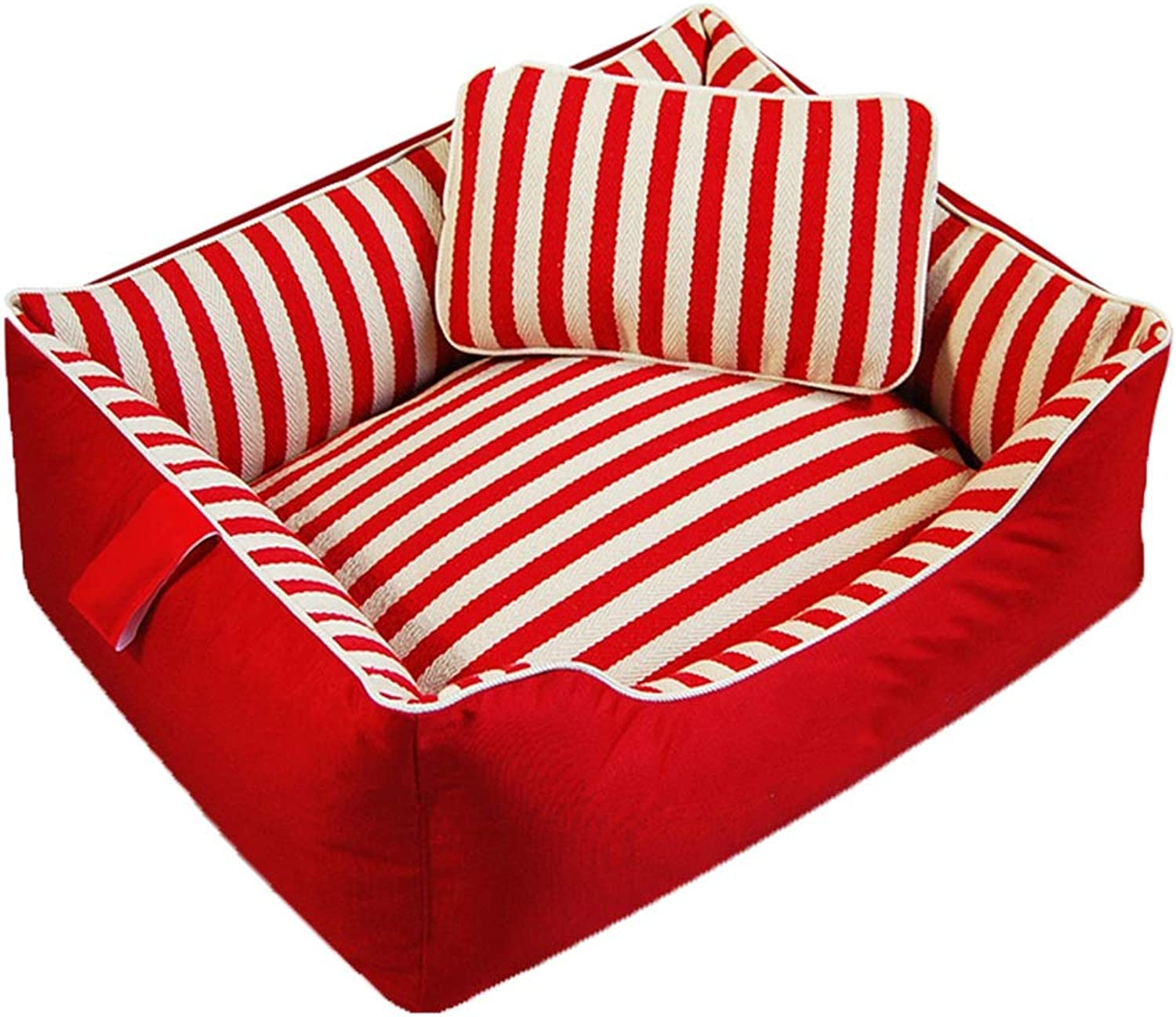 Pet Bed Pet Sofa Cat Nest Pet Nest Dog Nest Cat Kennel Kennel Stripe Detachable Washable Autumn And Winter Resistant To Dirt FENGMING (color   RED, Size   S)