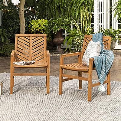Walker Edison Furniture Company 2 Piece Outdoor Patio Chevron Wood Chair Set All Weather Backyard Conversation Garden Poolside Balcony, Set of 2, Brown