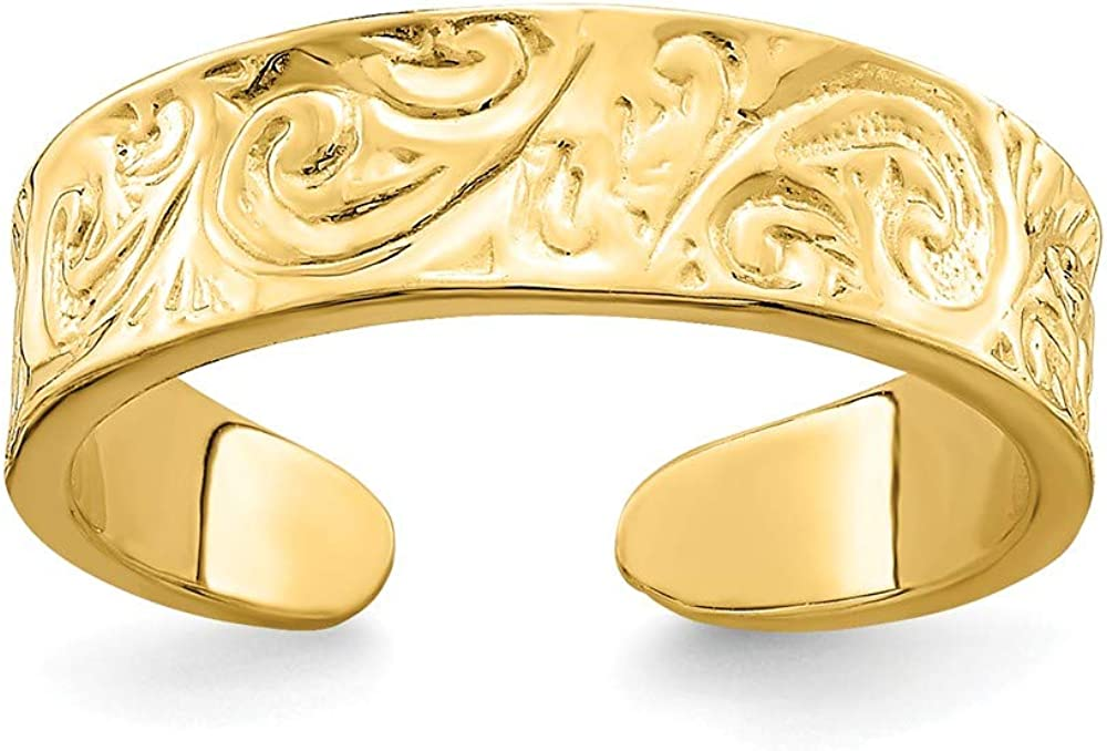 Solid 14k Yellow Gold Adjustable Scroll Pattern Toe Ring Adjustable